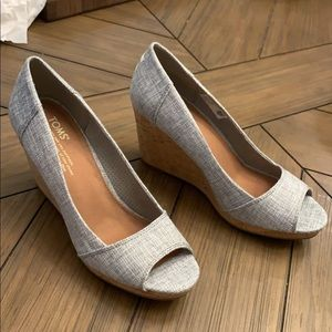 Grey Toms' Wedges size 8 brand new